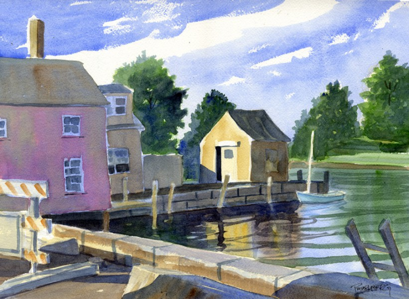 "Yellow Shed at Geno's Dock, Portsmouth12 x 16"" (SOLD)"